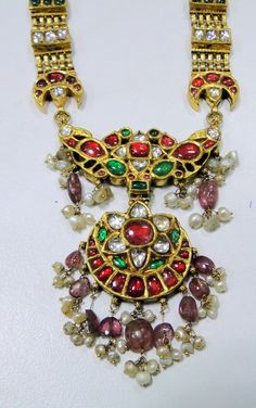 vintage antique 20 ct solid gold NECKLACE kundan meena polki diamond neckalce