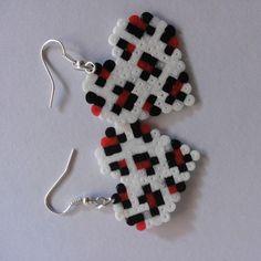 Heart earrings hama beads by hamabeadsart