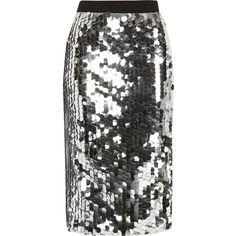 River Island Silver sequin midi pencil skirt (1.130 RUB) ❤ liked on Polyvore featuring skirts, sale, silver, women, high waist knee length pencil skirt, high-waisted pencil skirts, high waisted midi skirt, calf length pencil skirts and knee length pencil skirt