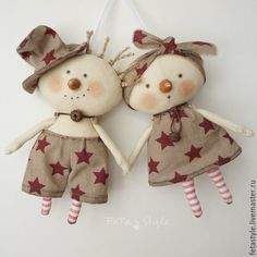 Купить Снеговики новогодние Куклы-подвески Текстильные Игрушки на Елку - снеговик на елку купить