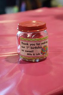 baby food jar party favors=shows bday but how cute for baby shower
