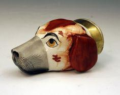 ANTIQUE STAFFORDSHIRE POTTERY SPANIEL HEAD STIRRUP CUP - Antique ...