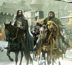 Eddard Stark and Robert Baratheon departing Winterfell