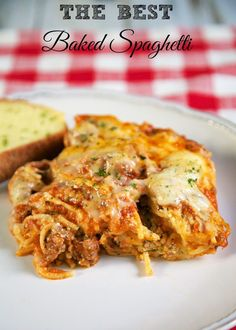 The Best Baked Spaghetti - delicious spaghetti casserole! Also makes a great freezer meal!