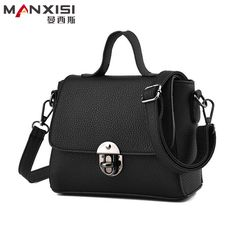 MANXISI Brand Shoulder Bags Small Crossbody Bag for Women Casual Soft Cover Messenger  Bags Solid Black Leather Handbags Flap-in Shoulder Bags from Luggage ... 61c81961ee0f0