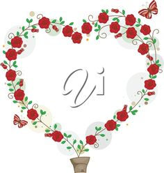 iCLIPART - Clip Art Illustration of Flowers Forming the Shape of a Heart for Valentines Day
