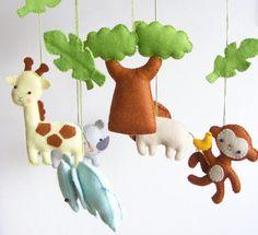 Baby crib mobile animals with monkey ideas safari themed nursery jungle john lewis going on a . Baby Crib Mobile, Baby Cribs, Baby Mobiles, Felt Patterns, Pdf Sewing Patterns, Safari Animals, Felt Animals, Safari Theme Nursery, Themed Nursery