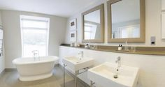 Salcombe Harbour Hotel bathroom by DO Design Studio Fashion Room, Corner Bathtub, Sink, Shelves, Mirror, Bathroom Ideas, Furniture, Design, Home Decor