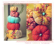Dress up your pumpkin with fun fabrics. These remind me of the pillows my grandma used to make.