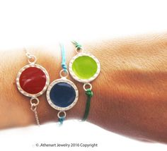 Color silver bracelet/red silver bracelet/color by AthenArt Greek Jewelry, Unique Jewelry, Resin Jewelry, Handmade Silver, Boho, Street, Trending Outfits, Colors, Bracelets
