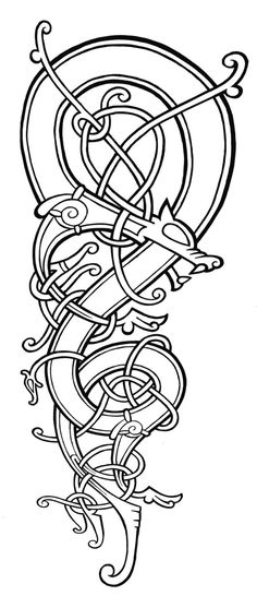 Line art tattoo design for a viking