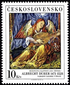Stamp: Albrecht Durer, Angel playing mandolin (Czechoslovakia) (National Gallery - Albrecht Dürer) Mi:CS 3002,Sn:CS 2743b,AFA:CS 2852II,POF:CS 2893