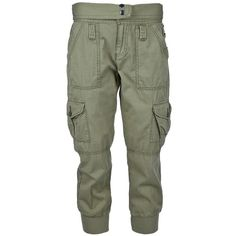 POLO RALPH LAUREN cropped cargo trouser ($82) ❤ liked on Polyvore featuring pants, capris, bottoms, jeans, pantalones, cuff pants, cuffed pants, cropped trousers, cuff cargo pants and green pants