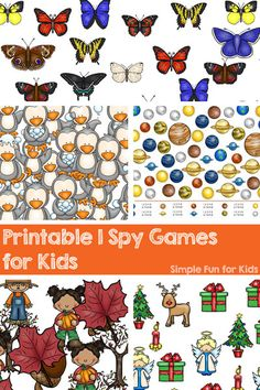 Check out all these fun printable I Spy games for kids! There are games for Valentine's Day, Easter, Christmas, and lots of other seasonal and non-seasonal themes! Great way for toddlers and preschoolers to learn to count. Spy Games For Kids, Fun Activities For Preschoolers, I Spy Games, Printable Activities For Kids, Preschool Printables, Infant Activities, Travel Activities, Play Based Learning, Preschool Learning