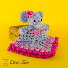 Elefant Lovey / Security Blanket - PDF Crochet Pattern - sofort-Download - Blankie Babydecke
