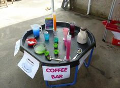 Surfer Party, Tuff Spot, Continuous Provision, Nursery Activities, Tuff Tray, Spray Bottle, Cleaning Supplies, Bar, Coffee