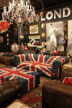 Ultimate British Decor. I realllyyy want the hats on the wall idea! And my London brochures in shadow boxes.