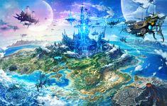 Crystal of Reunion - Game ☮ * ° ♥ ˚ℒℴѵℯ cjf Fantasy City, Fantasy Castle, Fantasy Island, Fantasy Places, Fantasy World, Fantasy Art Landscapes, Fantasy Landscape, Landscape Art, Fantasy Concept Art