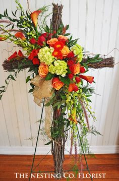 Orange Roses with Green Hydrangea on Grapevine Cross | The Nesting Company