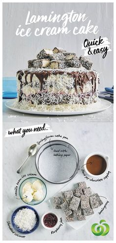 How to make a quick, easy and delicious Lamington Ice Cream Cake in three simple steps! Yummy Treats, Delicious Desserts, Sweet Treats, Dessert Recipes, Yummy Food, Delicious Dishes, Cream Cake, Ice Cream, Frozen Desserts