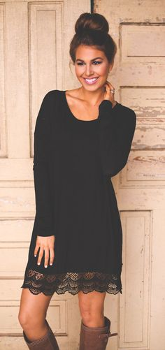 summer outfits Black Lace Dress + Brown Boots