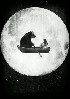 illustration bear / boat sail away with me , magical grimm and fairy sory book modern illustration print , lets go off to meet the moon and the stars said bear i have a rowing boat for two Art And Illustration, Illustrations, Photocollage, Alphonse Mucha, Stars And Moon, Graphic, Collage Art, Dream Collage, Psychedelic