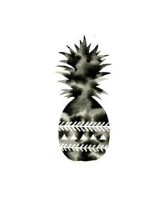 Large Original Watercolor . Pineapple Art . Geometric Art . Chevron . Triangles . Graphic Black and White Art . Modern Painting on Etsy, $41.15 AUD