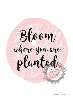 Pink Bloom Where You Are Planted- Digital Download, PRINTABLE ART, Instant Download by AnnaSpilsburyDesign on Etsy https://www.etsy.com/au/listing/470890950/pink-bloom-where-you-are-planted-digital
