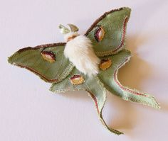 Luna Moth Statement Brooch Soft Sculpture by BlueTerracotta