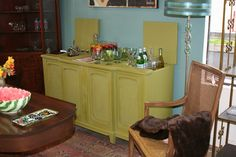 Another look at old record player ,now a bar Serving area and painted  a fresh summer green.