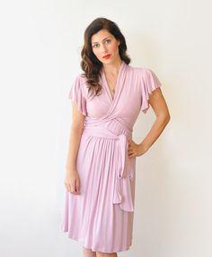 Jersey Dress, Great as a Nursing Dress, Breastfeeding Dress, Wrap Dress, Summer, Knee Length on Etsy, $110.00