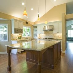kitchen island with extended table