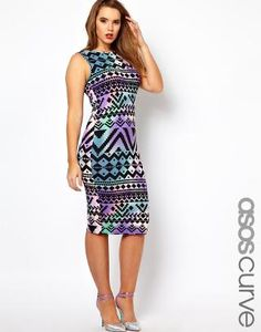 ASOS Curve | ASOS CURVE Bodycon Dress In Aztec Print at ASOS