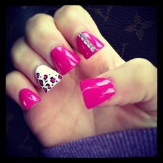 Cheetah, pink, studs
