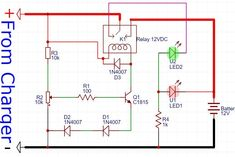 Automatic Charger (Auto Cut OFF): what is auto cut off battery charger?some off charger maybe can't stop charging when the battery is fully charged. Electronics Projects For Beginners, Electronics Mini Projects, Hobby Electronics, Electronics Basics, Electrical Projects, Lead Acid Battery Charger, Battery Charger Circuit, Automatic Battery Charger, Basic Electronic Circuits
