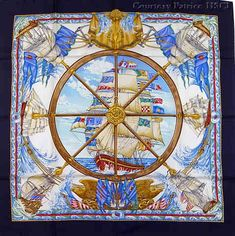 """Vive le Vent (from <a href=""""http://piwigo.hermesscarf.com/picture?/80/category/241-the_sea_nautical_fish"""">HSCI Hermes Scarf Photo Catalogue</a>)"""