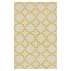 Wool rug with a geometric trellis motif. Hand-tufted in India.    Product: RugConstruction Material: 100% WoolColor: Sunshine and ivoryFeatures:  Made in IndiaHand-tufted Note: Please be aware that actual colors may vary from those shown on your screen. Accent rugs may also not show the entire pattern that the corresponding area rugs have.Cleaning and Care: Spot treat with a mild detergent and water. Professional cleaning is recommended if necessary.