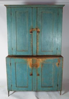 1 of 22 : American Blue Painted Pine Step-Back Cupboard, early Century LMMCC Rustic Primitive Decor, Primitive Furniture, Primitive Antiques, Country Furniture, Antique Furniture, Painted Cupboards, Antique Beds, Back Painting, Antique Paint