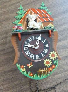 Vintage  Swiss wall clock kitsch clock great for by toysfrom70s