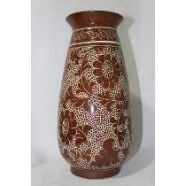 Vaso Floreiro Antigo, Cerâmica Vitrificada, Japão, 34 Cm