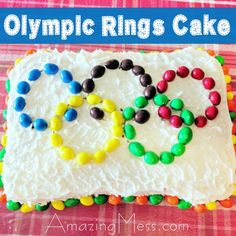 Easy Olympic Rings Cake - This Olympic inspired cake makes a great cooking with kids project!