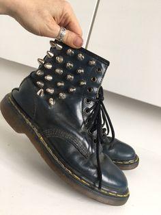 VTG Made England Distressed Dark Blue Custom Stud Dr Martens Ankle Boots 6 39 | eBay