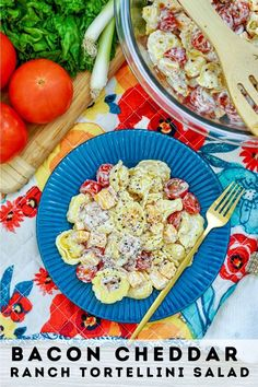 Bacon Cheddar Ranch Tortellini Salad will soon become your go-to pasta salad for your next get together as it combines tortellini, cheddar cheese, bacon, tomatoes that are then tossed in a delicious buttermilk ranch dressing. Tortellini Salad, Pasta Salad, Buttermilk Ranch Dressing, Cherry Tomato Pasta, Party Food And Drinks, Meals For The Week, Tasty Dishes, Family Meals, New Recipes