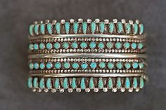 Signed Zuni Needlepoint Turquoise and Silver cuff bracelet