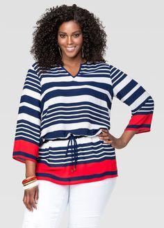 Striped Drawstring Tunic