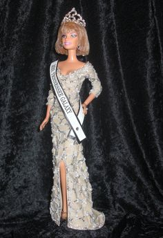 Fully hand beaded queen look-a-like doll from www.PageantPersonality.com