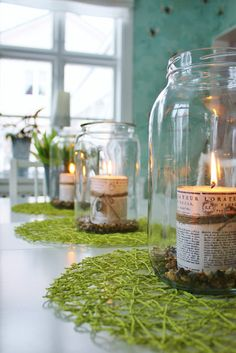 Paper wrapped candles in jars...love it!