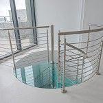 Spiral Staircase - Glass Treads | Bella Stairs Staircase Glass, Spiral Staircase, Stainless Steel Handrail, Stainless Steel Rod, Laminated Glass, Shattered Glass, Glass Panels, Second Floor, Stairs