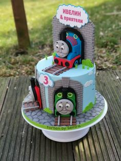 Thomas and friends - cake by TortenbySemra - CakesDecor Friend Birthday, 3rd Birthday, Birthday Cakes, Birthday Ideas, Birthday Parties, Thomas The Tank Cake, Thomas And Friends Cake, Berry Chantilly Cake, Thomas Cakes