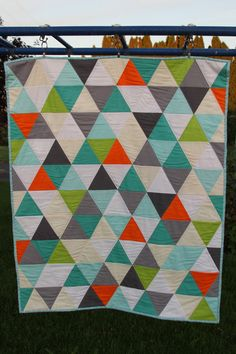 QUILT Geometric Triangles Boy Crib Baby Quilt by FrozenKnickers